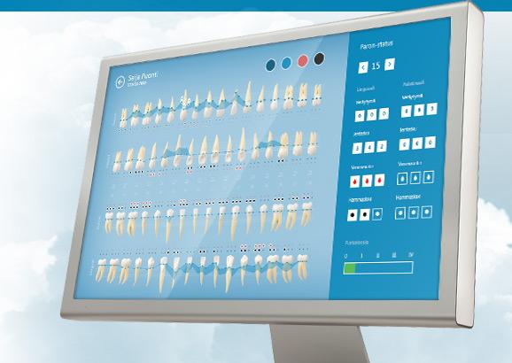 Hammaskaari-, paron- ja röntgenkuvanäkymät, avustava ostoskori ym. intuitiivisesti toteutettuna ja aina helposti käsillä. Kansainvälinen potilaskertomus integroituna.